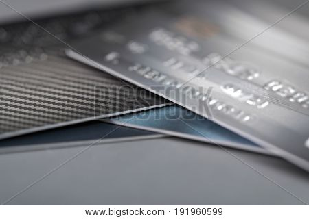 Credit Cards On The Table. Shallow Focus And Soft Tone.