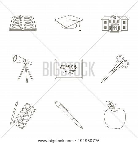 Set of pictures about the school. Study training. Supplies for school.Outfit of the student. School and eduacation icon in set collection on outline style vector symbol stock web illustration.