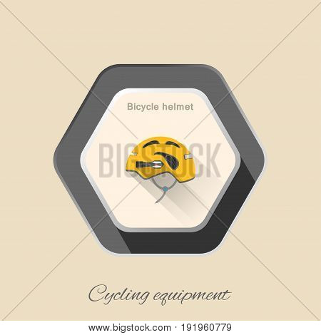 Vector isolated hexagon flat icon of yellow bicycle helmet with flashlight and long shadow on the light background.