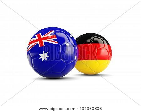 Two Footballs With Flags Of Australia And Germany Isolated On White