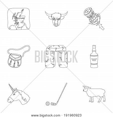 National symbols of Scotland. Scottish attractions. Scotland country icon in set collection on outline style vector symbol stock web illustration.