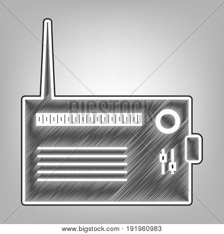 Radio sign illustration. Vector. Pencil sketch imitation. Dark gray scribble icon with dark gray outer contour at gray background.