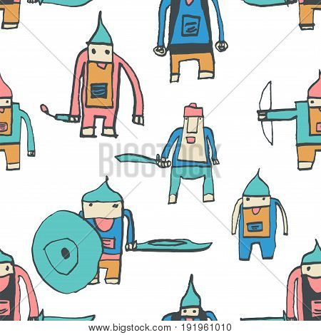 Hero Seamless Pattern. Outstanding Child's Drawing With School Pen. Cute Hero Hand Drawn With Colorf