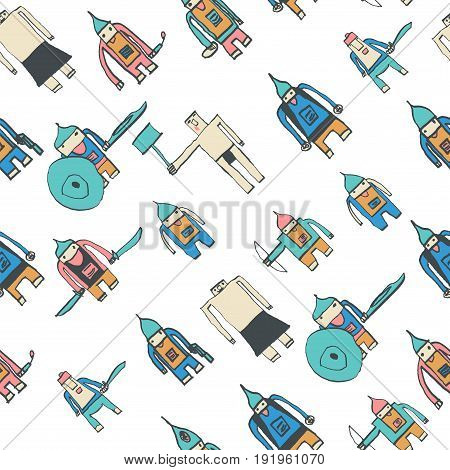 Hero Seamless Pattern. Brilliant Child's Drawing With School Pen. Cute Hero Hand Drawn With Colorful