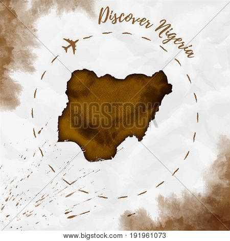Nigeria Watercolor Map In Sepia Colors. Discover Nigeria Poster With Airplane Trace And Handpainted
