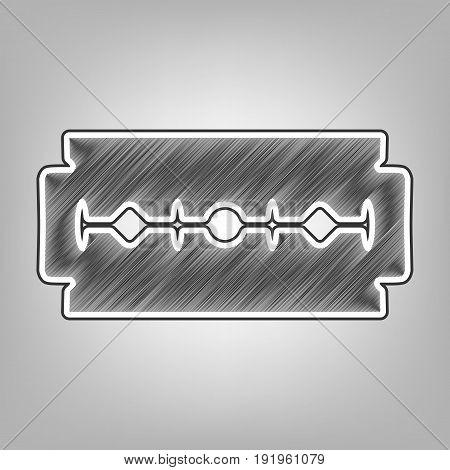 Razor blade sign. Vector. Pencil sketch imitation. Dark gray scribble icon with dark gray outer contour at gray background.