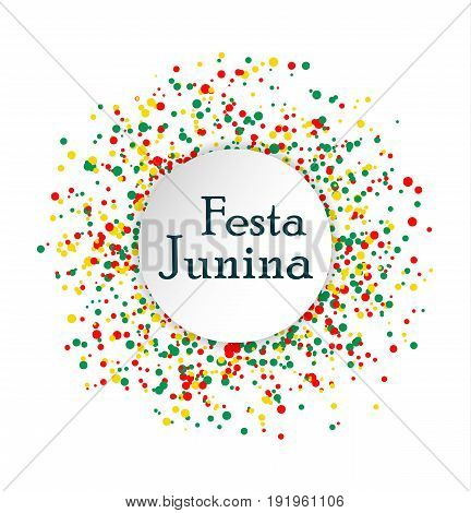 Festa Junina Brasil festival. Abstract pattern made of colored dots on white background. Red yellow and green confetti for carnival backdrop design element. Vector illustration
