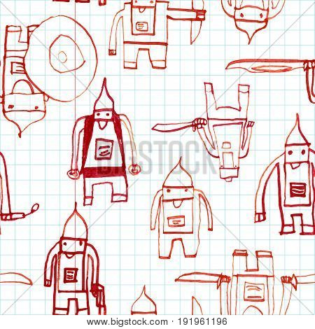 Hero Seamless Pattern. Superb Child's Drawing With School Pen. Cute Hero Hand Drawn With Red Ink On