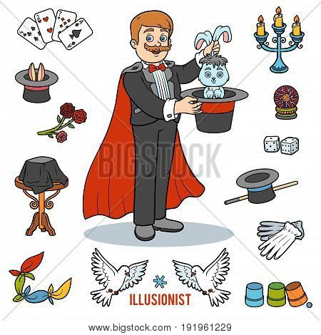 Vector Set With Magician And Objects For Magic Tricks