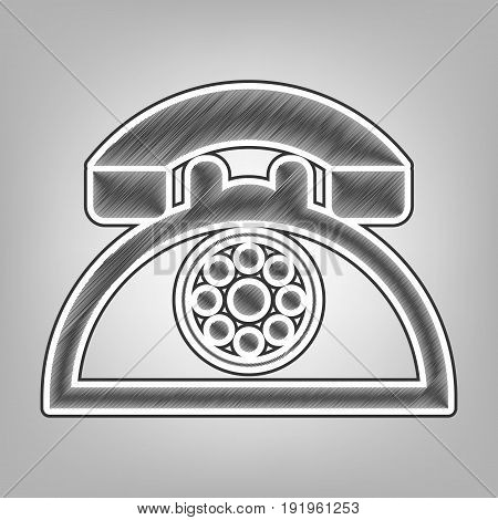 Retro telephone sign. Vector. Pencil sketch imitation. Dark gray scribble icon with dark gray outer contour at gray background.