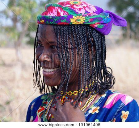 Portrait of tattooed Mbororo aka Wodaabe tribe woman - 25-02-2014 Poli Cameroon