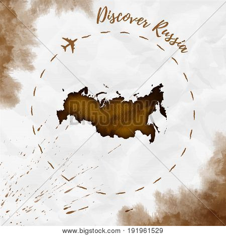 Russia Watercolor Map In Sepia Colors. Discover Russia Poster With Airplane Trace And Handpainted Wa