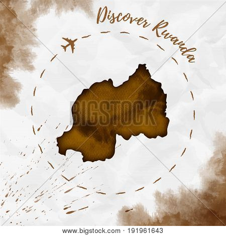 Rwanda Watercolor Map In Sepia Colors. Discover Rwanda Poster With Airplane Trace And Handpainted Wa
