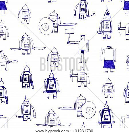 Hero Seamless Pattern. Comely Child's Drawing With School Pen. Cute Hero Hand Drawn With Blue Ink On