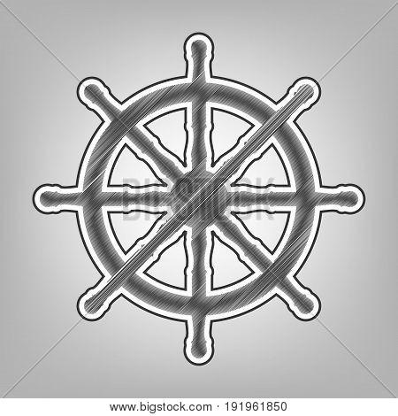 Ship wheel sign. Vector. Pencil sketch imitation. Dark gray scribble icon with dark gray outer contour at gray background.