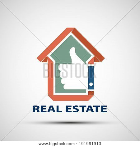 Icon design of Real Estate. Sale and insurance of houses. Stock vector illustration.