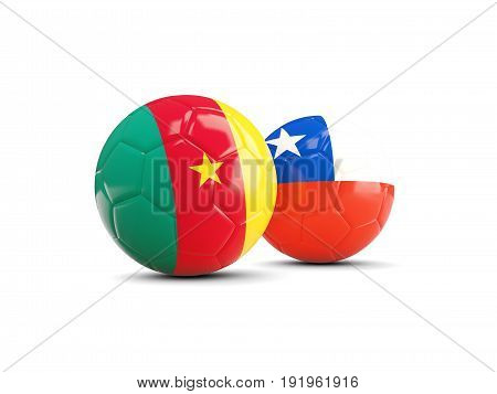 Two Footballs With Flags Of Cameroon And Chile Isolated On White
