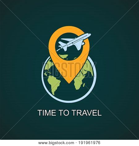 Icon airplane flies around the earth planet. Stock vector logo illustration.