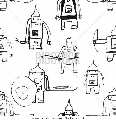 Hero Seamless Pattern. Ideal Child's Drawing With School Pen. Cute Hero Hand Drawn With Black Ink On