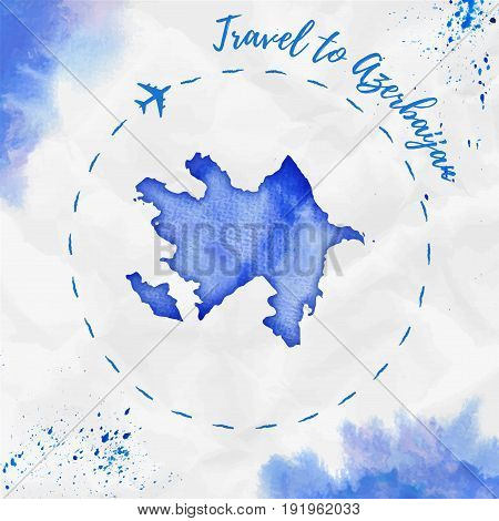 Azerbaijan Watercolor Map In Blue Colors. Travel To Azerbaijan Poster With Airplane Trace And Handpa