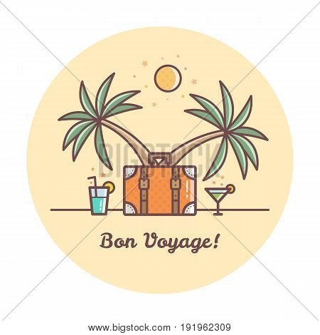 Bon Voyage. Suitcase and drinks. Vector illustration