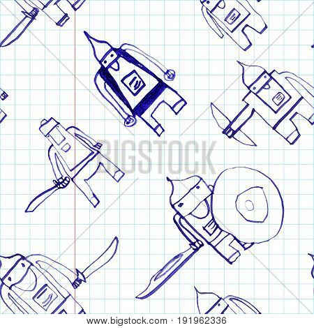 Hero Seamless Pattern. Magnetic Child's Drawing With School Pen. Cute Hero Hand Drawn With Blue Ink