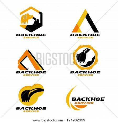 Yellow and Black Backhoe service logo vector set design