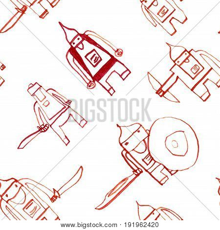 Hero Seamless Pattern. Interesting Child's Drawing With School Pen. Cute Hero Hand Drawn With Red In