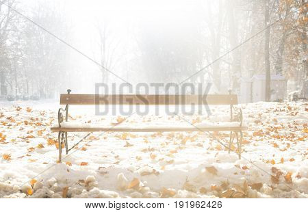 Bench In Winter In Zagreb, Croatia