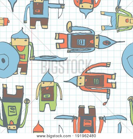 Hero Seamless Pattern. Fetching Child's Drawing With School Pen. Cute Hero Hand Drawn With Color On