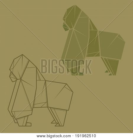 Set vector simple illustration paper origami and contour drawing of gorilla.