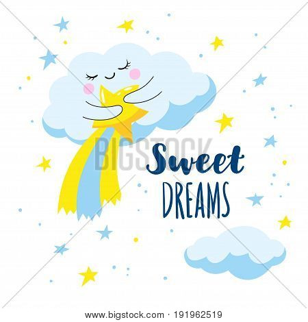 Cute cloud with a comet and the stars in the sky. Vector illustration is suitable for greeting cards and prints on T-shirts.