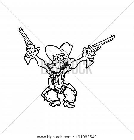 old cowboy cartoon character. Vector Illustration design