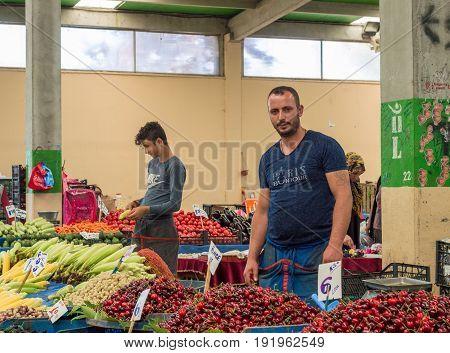 Eskisehir, Turkey - June 15, 2017: People At Traditional Typical Turkish Grocery Bazaar In Eskisehir