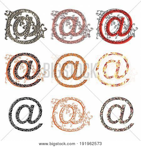 Set of variations fishnet (lace) sign figures @ (symbol at).