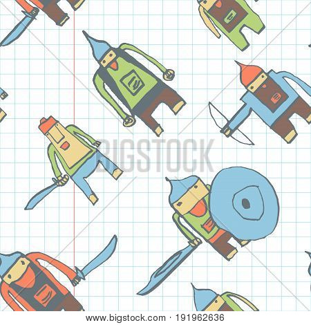 Hero Seamless Pattern. Majestic Child's Drawing With School Pen. Cute Hero Hand Drawn With Color On