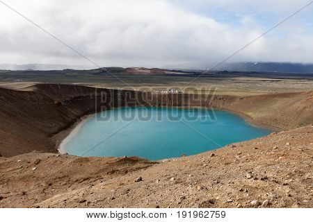 Viti Crater, Krafla Volcanic Area, Myvatn, Northern Iceland. Bright Blue Waters Of The Lake Inside V