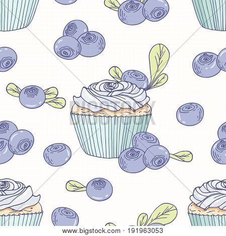 Hand drawn seamless pattern with doodle cupcake and blueberry buttercream. Food background. Vector illustration