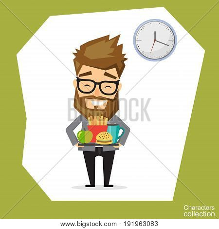 Hipster man holding a tray with fast food. Young man having lunch in a fast food restaurant. Happy man with fast food. Vector flat design illustration.