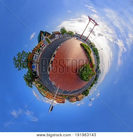 Circle panorama of Giant swing landmark in the city / Sao Ching Cha