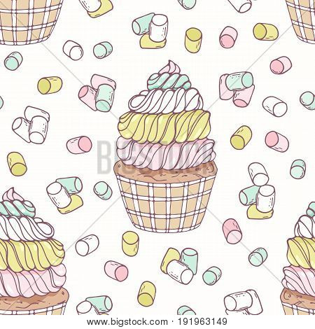 Hand drawn seamless pattern with doodle cupcake, marshmallow and buttercream. Food background. Vector illustration