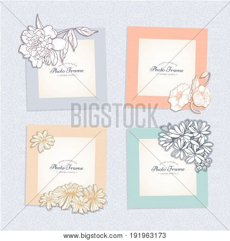 Photo frame with flower. Album template for kid, baby, girl, family or memories. Scrapbook concept, vector illustration.