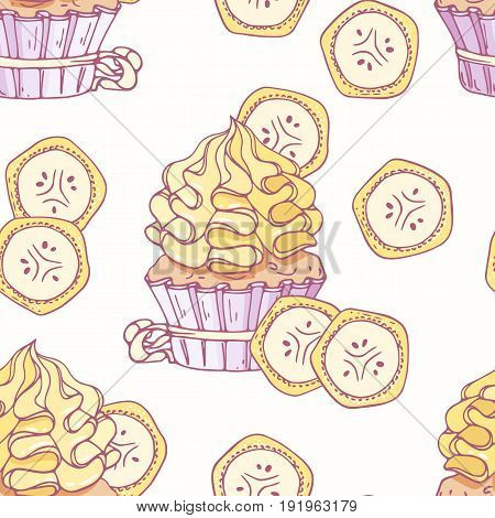Hand drawn seamless pattern with doodle cupcake and banana buttercream. Food background. Vector illustration