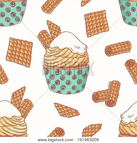 Hand drawn seamless pattern with doodle cupcake, waffles and buttercream. Food background. Vector illustration