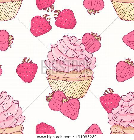 Hand drawn seamless pattern with doodle cupcake and strawberry buttercream. Food background. Vector illustration