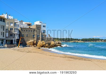 a view of the Malaespina beach in Calella de Palafrugell, Costa Brava, Catalonia, Spain