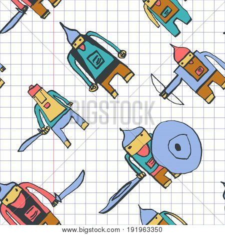 Hero Seamless Pattern. Curious Child's Drawing With School Pen. Cute Hero Hand Drawn With Colorful O