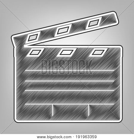 Film clap board cinema sign. Vector. Pencil sketch imitation. Dark gray scribble icon with dark gray outer contour at gray background.