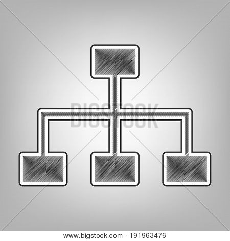 Site map sign. Vector. Pencil sketch imitation. Dark gray scribble icon with dark gray outer contour at gray background.