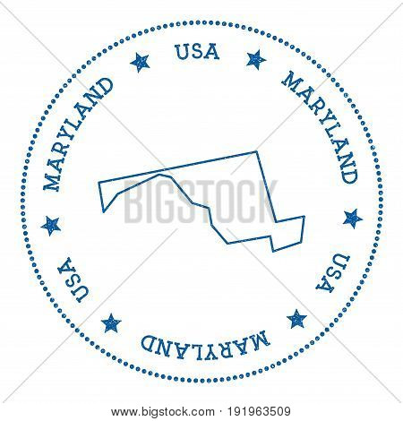 Maryland Vector Map Sticker. Hipster And Retro Style Badge With Maryland Map. Minimalistic Insignia
